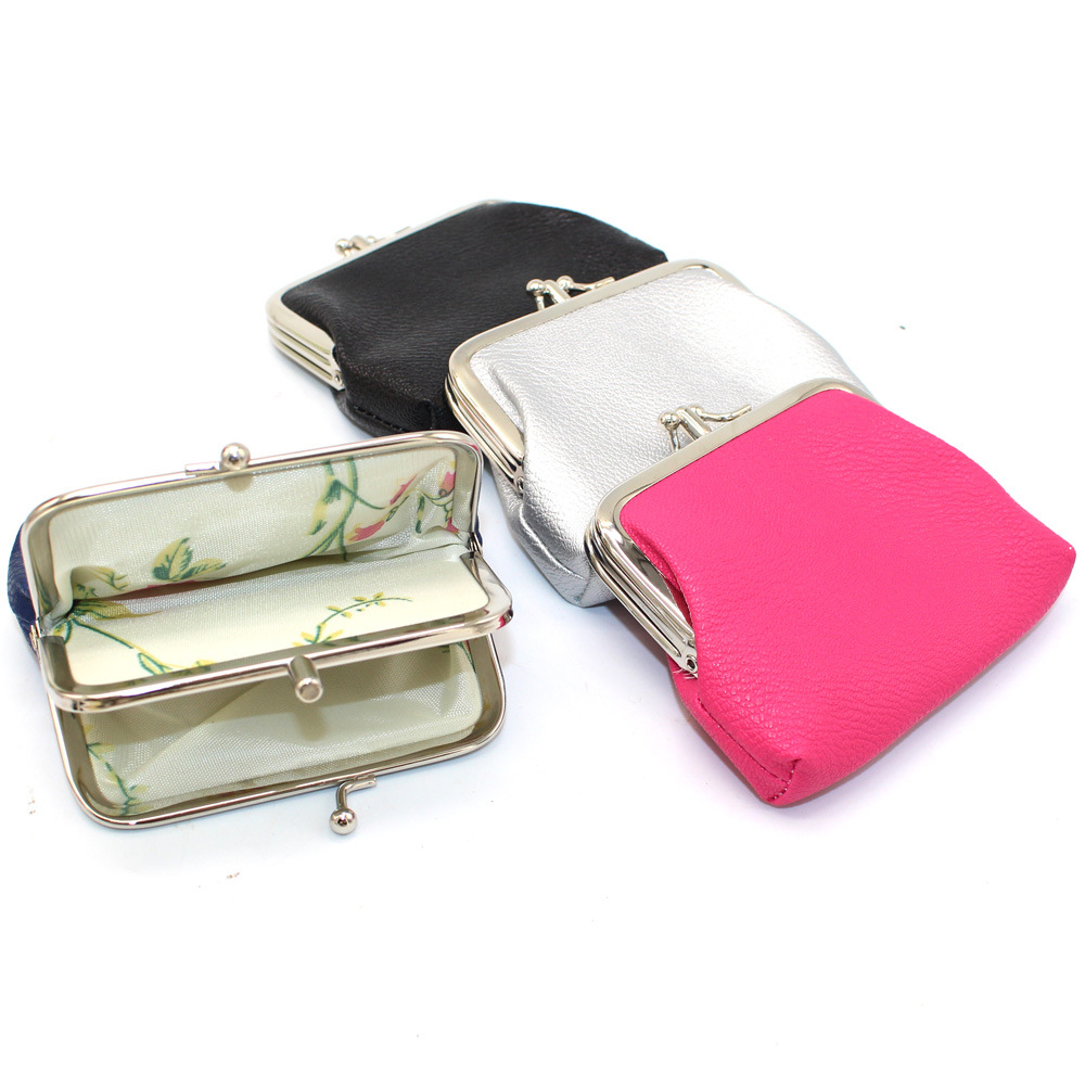Candy Color Double Layer Coin Purse Women Girls Colorful Simple PU Buckle Wallet Lipstick Portable Money Purse Pocket Bag New