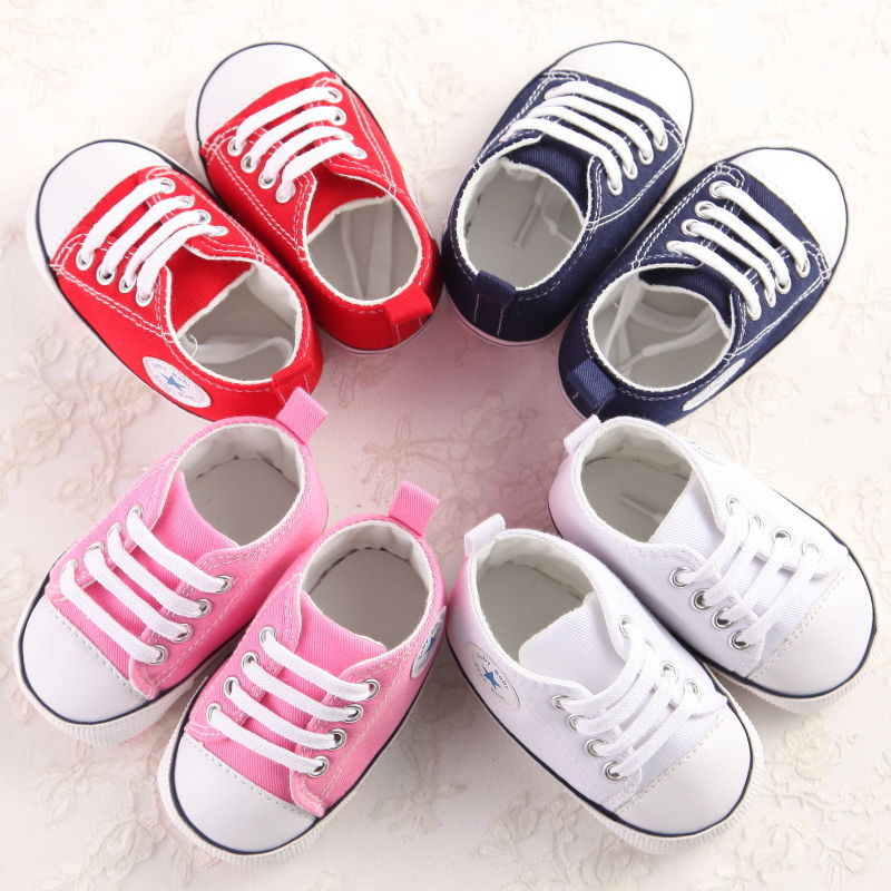 4 Colors Infant Baby Girls Boys Casual Fashion Cribs Shoes  Patchwork Lace Up Cotton Soft Sole Baby Shoes 0-18M