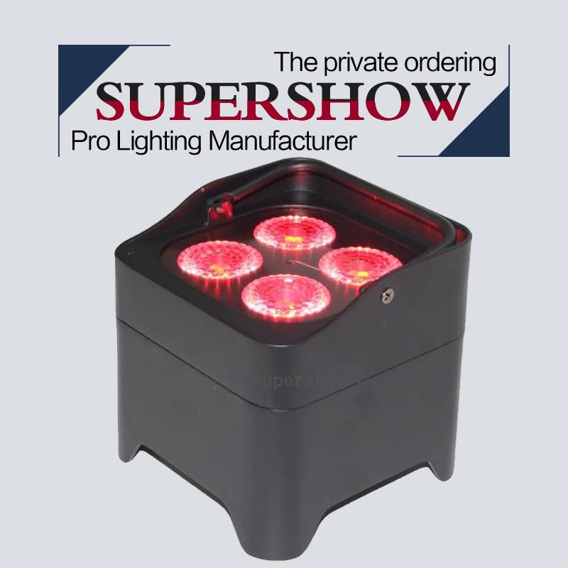 Nuevo diseño DJ boda evento 4*18w RGBWA + UV 6 en 1 LED mini batería Par luz con control remoto