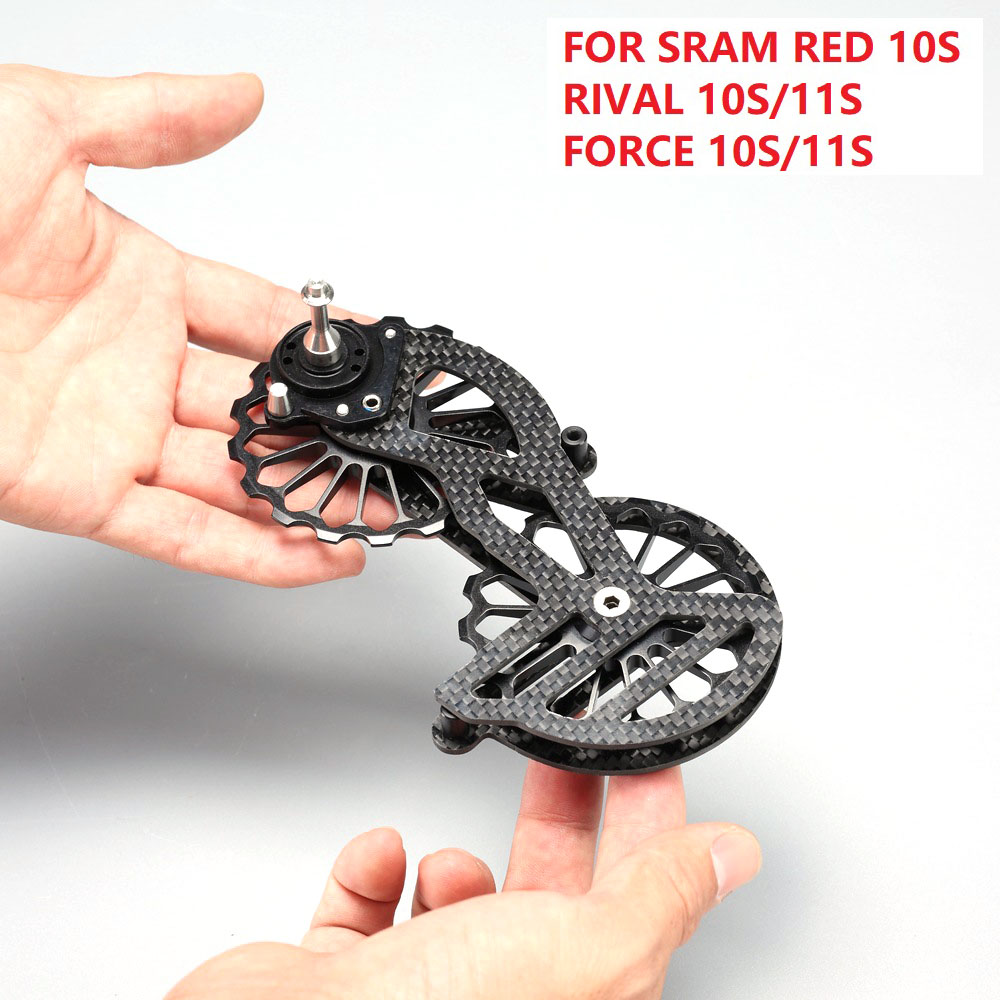 17T Carbon Fiber Bicycle Jockey Pulley Ceramic Bearing Pulley Wheel Set Rear Derailleurs Guide For <font><b>SRAM</b></font> RED RIVAL FORCE 10S 11S image