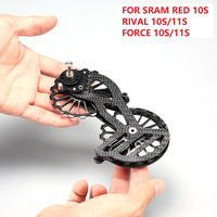 17T Carbon Fiber Bicycle Jockey Pulley Ceramic Bearing Pulley Wheel Set Rear Derailleurs Guide For SRAM RED RIVAL FORCE 10S 11S