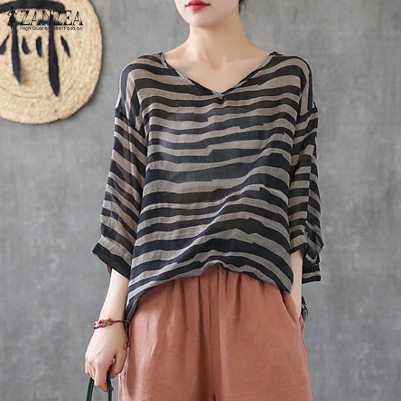 Summer Vintage Striped Shirts ZANZEA 2020 Women V Neck 3/4 Sleeve Blouse Casual Loose Blusas Femininas Tunic Tops Robe Femme Tee