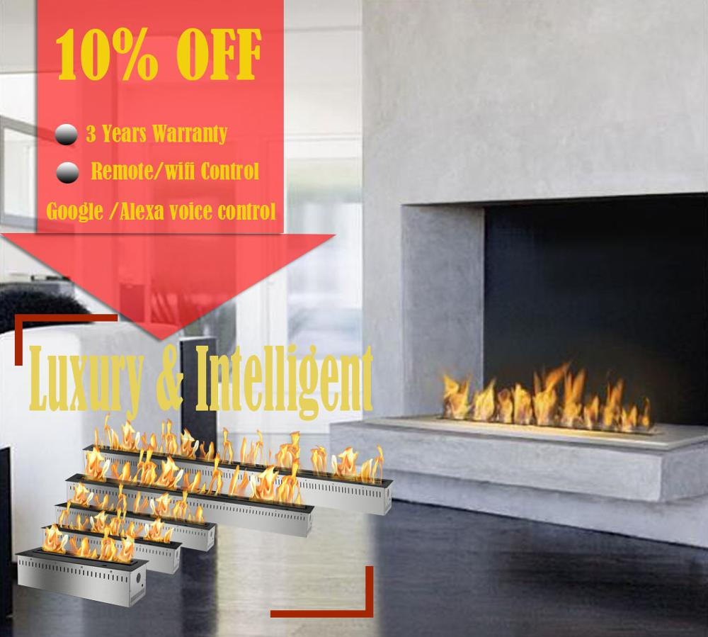 On Sale 24 Inch Intelligent Bio Fire Fuel Burner Modern Bioethanol Remote Fireplace