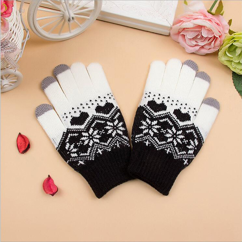 New Female Winter Gloves Touch Screen Mittens For Women Christmas Snowflake Full Finger Mitts Wrist Gloves Gants Femme Hiver