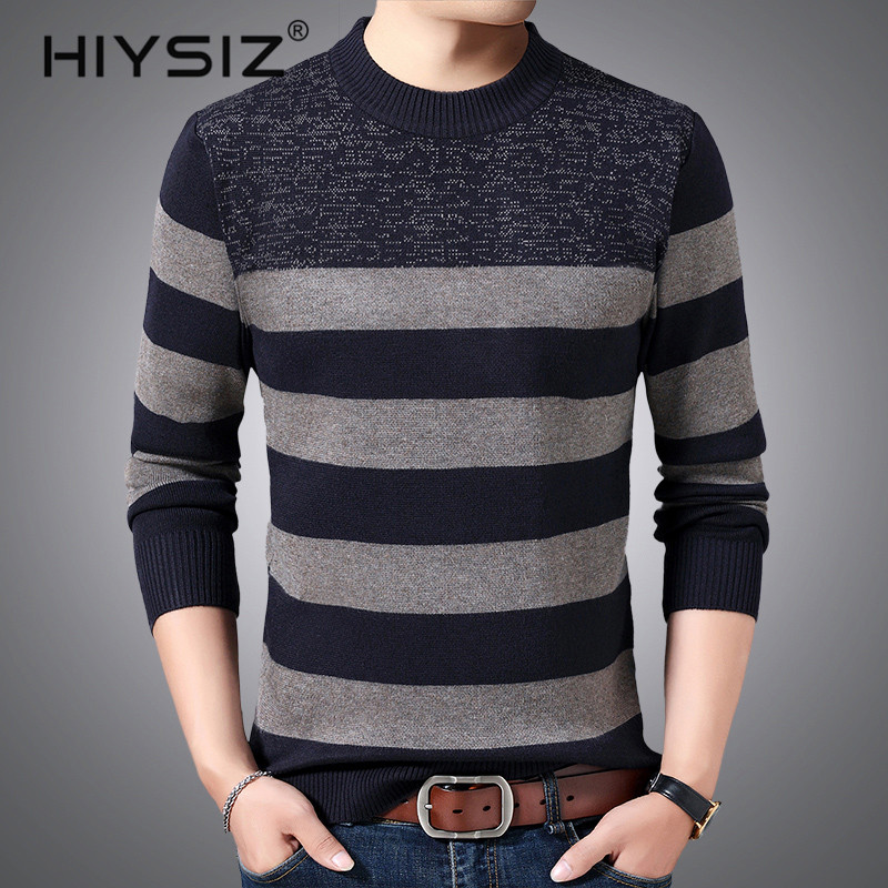 HIYSIZ Brand 2019 Autumn Winter Streetwear Pull homme knitted strip mensweater O-neck warm sweaters Men clothes clothes H3022