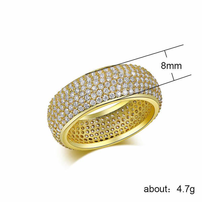 เพชรหรูหราสุภาพสตรี Zircon แหวนเงินคลาสสิก Vintage เครื่องประดับหมั้นแหวน 2019 แฟชั่น