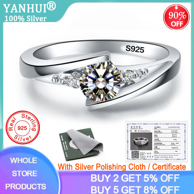 YANHUI With Certificate 0.75ct Lab Diamond Rings For Women Party Elegant Bridal Jewelry 925 Silver Wedding Engagement Rings R036