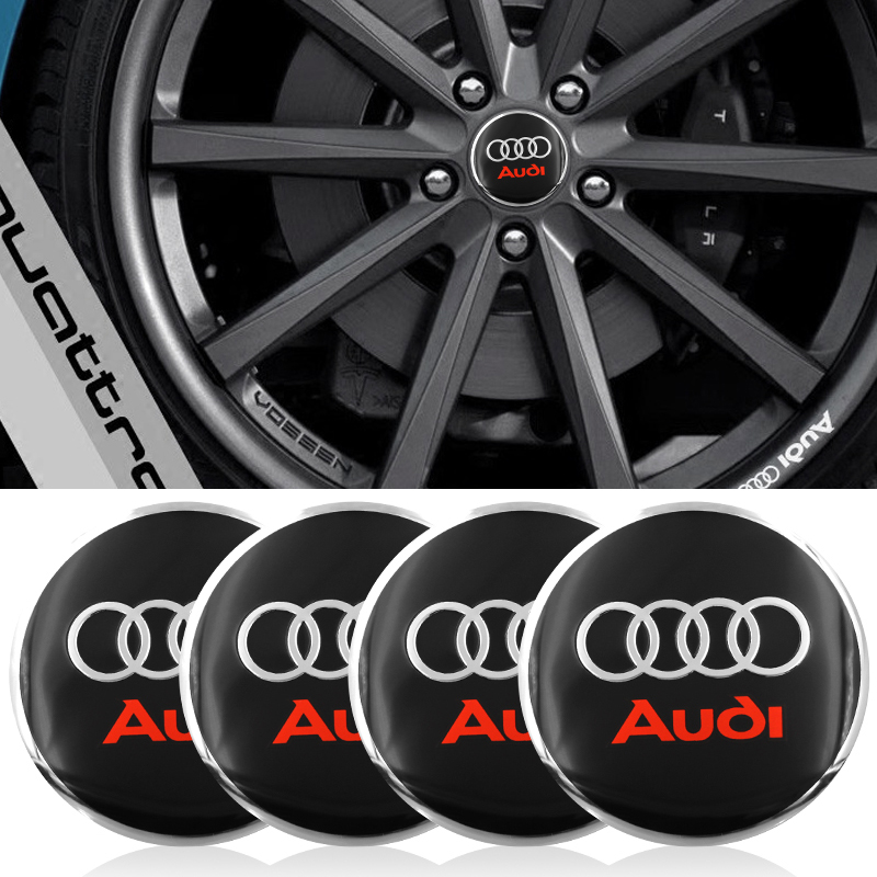 4pc Car Tire Wheel Center Cover Hubcaps Decorative Sticker For Audi A3 A4 A5 A6 A7 A8 B5 B6 B7 B8 C6 C7 C8 8v 8p Car Accessories