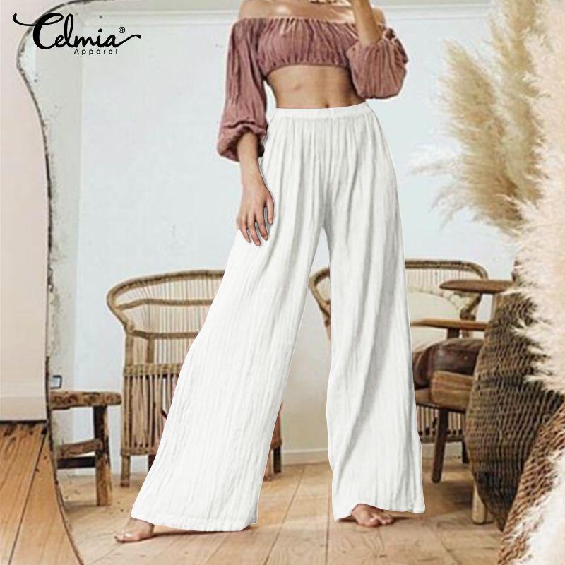 S-5XL Women's   Wide     Leg     Pants   Celmia 2019 New Casual Solid High Waist   Pants   Pleated   Pant   Trousers Loose Pantalon Femme Plus Size