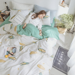 INS Four-piece Set Pure Cotton Simple Hipster Cotton Bed Sheet Reactive Printing And Dyeing Bed 4 Pieces in a Set