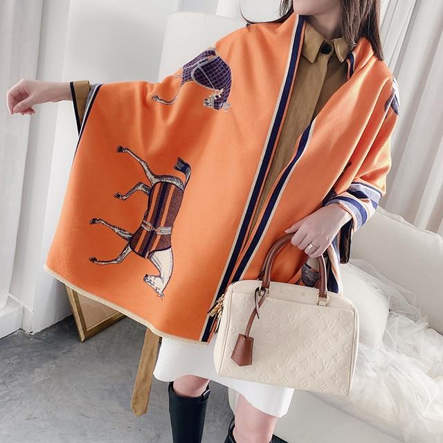 Mode Winter Schal Frauen Kaschmir Warme Pashmina Foulard Dame Luxus Pferd Schals Dicke Weiche Bufanda Schals Wraps 2020 Neue
