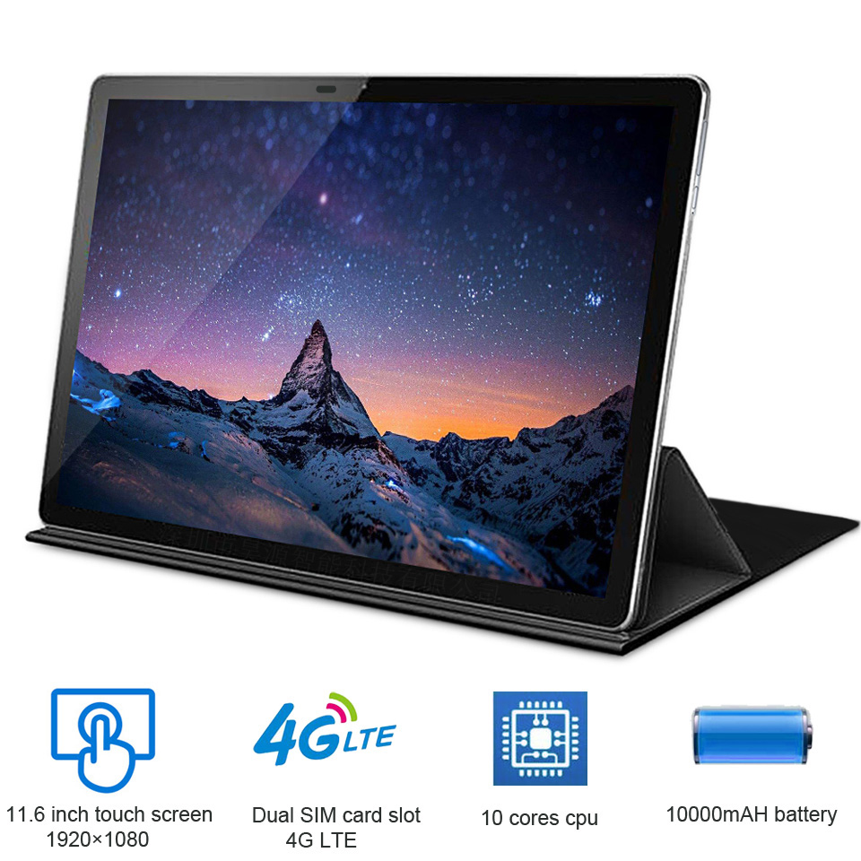 Orginal New 11.6 Inch 2 In 1 Tablet Android 4G LTE MTK6797 10 Cores  Android 8.0 Tablet For Drawing  Tablets With Keyboard Tab