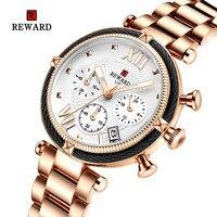 2019 REWARD Luxury Watch Women Waterproof Rose Gold Steel Strap Ladies Wrist Watches Top Brand Date Clock Relogio Feminino