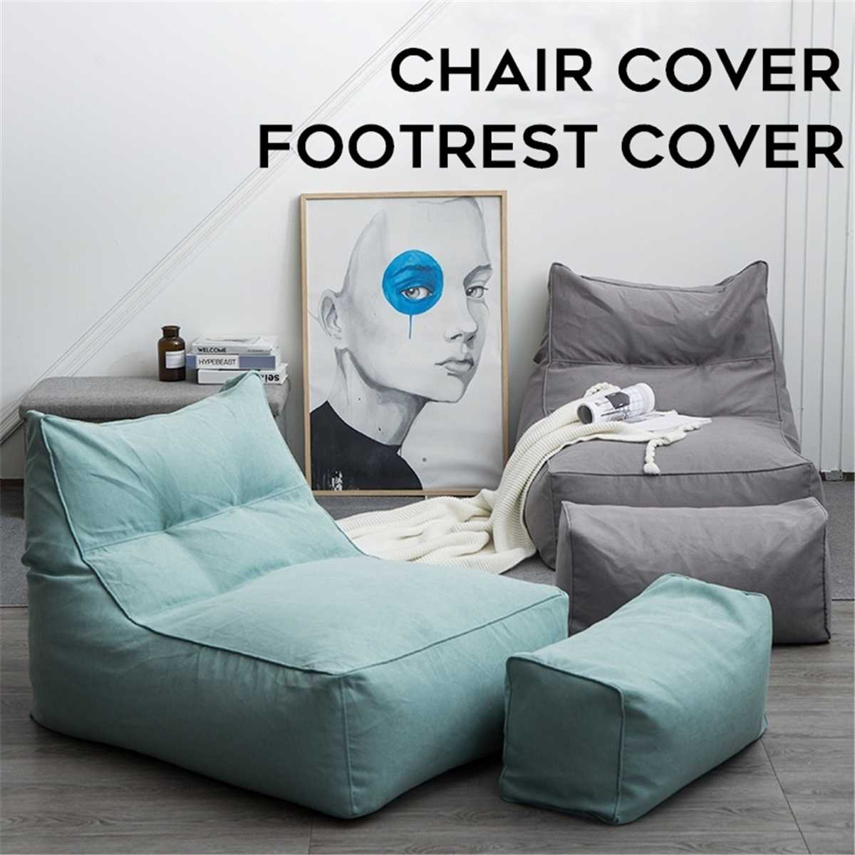 6 Colors Cotton Linen Square Solid Color Single Lazy Bean Bag Chair Footrest Sofa Set Cover Only Cover Home Textile