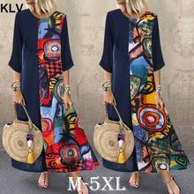 Women Autumn Maxi Dress Vintage Colorful Ethnic Print Pacthwork Robe Dresses O Neck 3/4 Sleeve Sundress Loose Long Vestido
