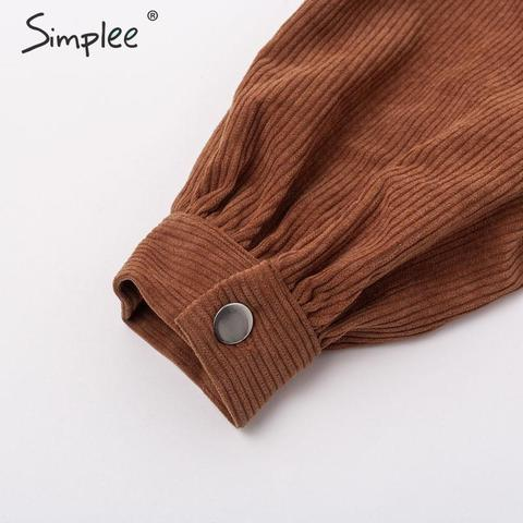 Simplee Casual corduroy buttons long sleeve jackets women 2019 Autumn winter office lady solid coat Female lapel short jackets Multan