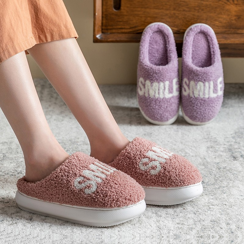 Women Plush Slippers Cute Big Smile High Heel Winter Warm Furry Thick Sole Shoes Home Indoor Ladies Girls Fur Slides zapatillas