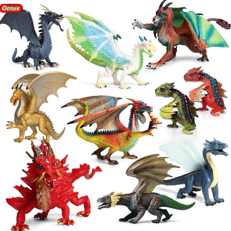 Oenux Original Savage Magic Dragon Simulation Chinese Dragon Smaug Action Figures Pvc Lifelike Figurines Education Kids Toy Gift