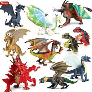 Oenux Original Savage Magic Dragon Simulation Chinese Dragon Smaug Action Figures Pvc Lifelike Figurines Education Kids Toy Gift(China)