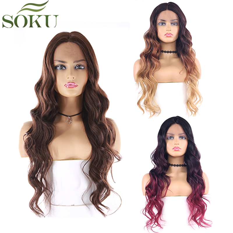 SOKU Synthetic Lace Front Wigs Long Wavy Middle Part Lace Hair Wigs Heat Resistant Lace Front Wig For Black Women