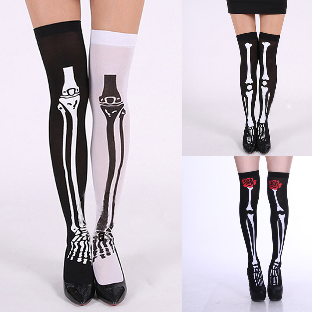 Thigh High Stockings Fashion Women Halloween Creative Skull Cosplay Party Printed  Pantyhose Stockings Medias Sexy Muslo