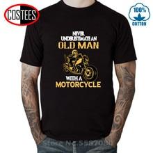 Nunca subestime a un viejo con una camiseta de la motocicleta hombres Vintage India motocicleta camisetas de algodón camiseta Moto bici ropa