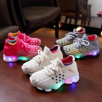 цена 2020 New glowing lace up cool children sneakers Lovely cute girls boys shoes Spring/Autumn LED lighting kids shoes footwear онлайн в 2017 году