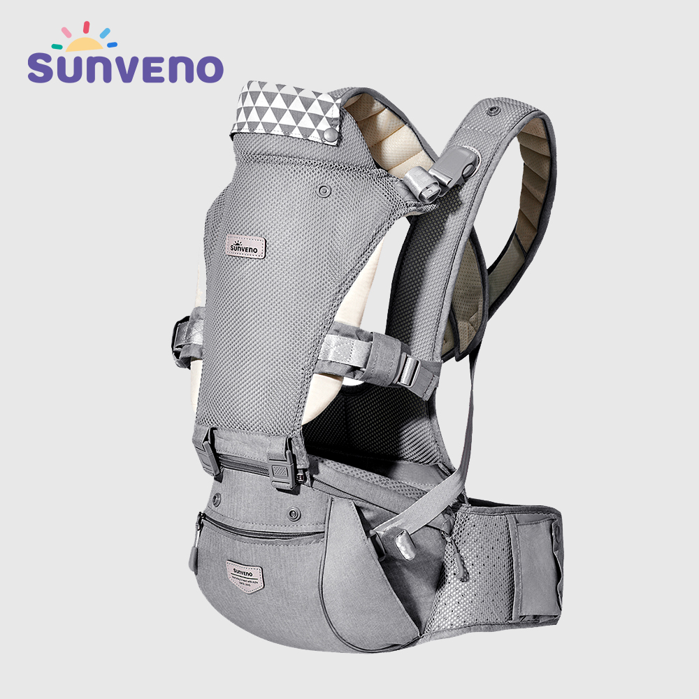 Sunveno Baby Carrier Infant Hip seat Carrier Kangaroo Sling Front Facing Backpacks Breathable for Baby Travel Activity Gear