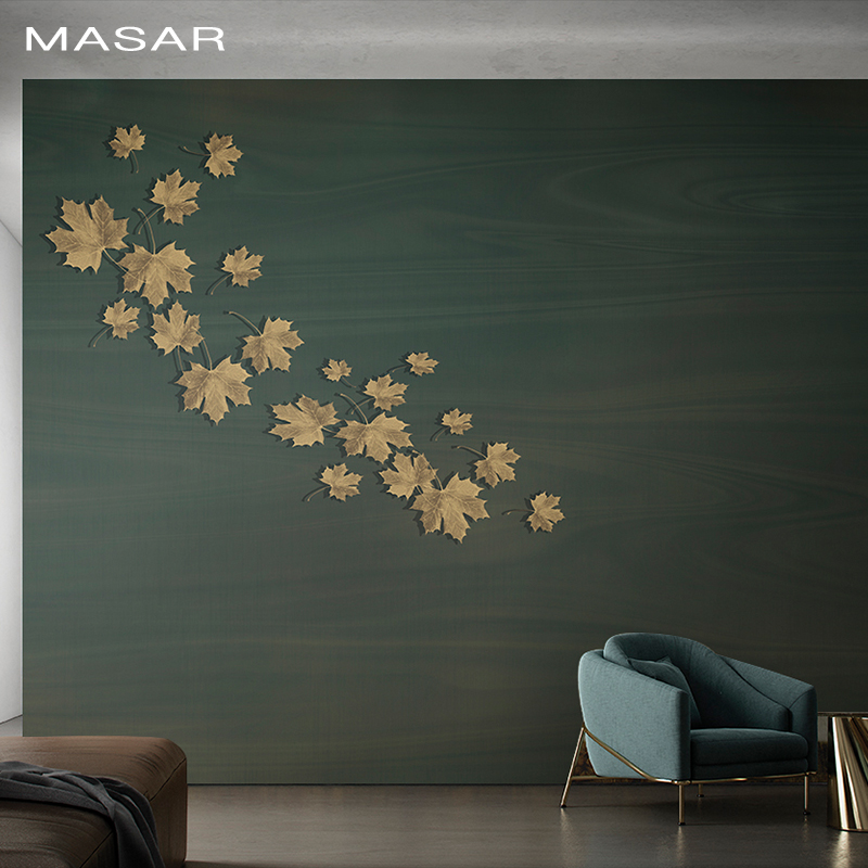 MASAR Original Simple Yellow Maple Leaf Mural Bedroom Bedside Living Room Dining Hall Hall Background Wall Wallpaper Fluid