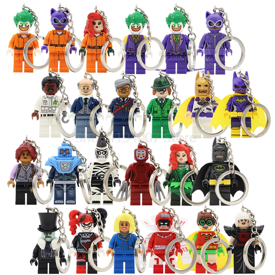 Batman Joker Figure Harle Quinn Keychain Poison Ivy DC Riddler Robin Catwoman Building Blocks Canlendar Toys Legoing