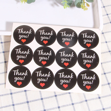 120pcs/Lot Cute Round Black With Red Heart Seal Sticke Thank You Stickers DIY Deco Gift Sticker Label Stationery Supplies