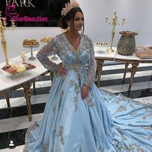 Синие марокканские вечерние платья с v образным вырезом платье