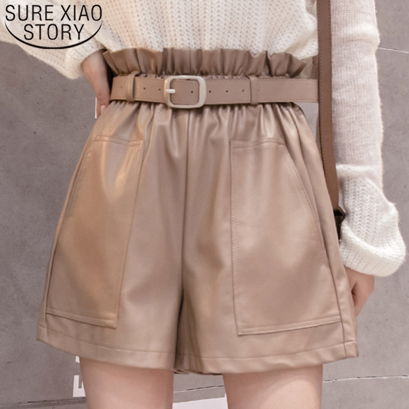Shorts Women 2019 High Waist Shorts Drawstring Sashes Pockets Solid Shorts PU Leather Wide-legged Shorts A-line Button 6312 50