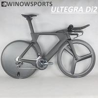 Winowsports aero carbono corrida tt completa bicicleta 700c triathlon ultegra shiman0 r8060 di2 estrada bicicleta 3 raios roda de disco completo