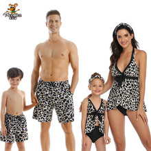Family Matching Swimwear Mother Daughter Bikini Swimsuits Look Dress Father Son Swimming Beach Shorts Mommy Dad And Me Clothes leopard swimsuits family matching swimwear mother daughter bikini dad son swim trunks mommy and me family outfits look e0200