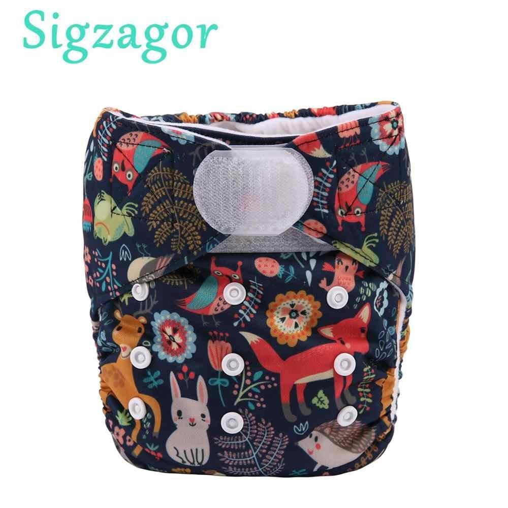 [Sigzagor] 베이비 포켓 천 기저귀 기저귀 훅 루프 와이드 허리 스트라이프 탭 1 개
