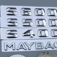 Emblema cromado para la capucha Maybach Logotipo de soporte S500 S600 V12 guardabarros lateral insignia del maletero de la rueda del coche emblema de la dirección de la etiqueta engomada