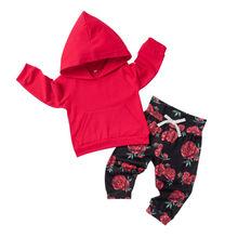 Осенне-осенний комплект одежды для маленьких девочек топы с капюшоном+ леггинсы с цветочным рисунком штаны 2 предмета, новорожденные толстовки, комплект одежды, хлопковый комплект для новорожденных