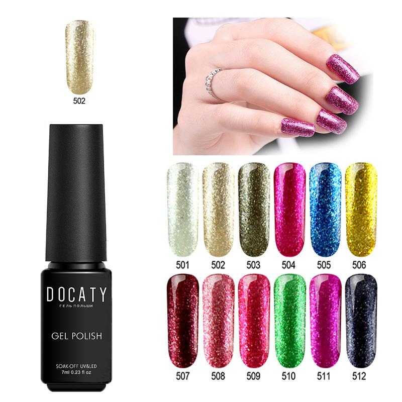 Docaty 7ml Platinum Nail Polish Shiny Gel Polish Semi-permanent Nail Polishes Kodi Gel Polish Everything for Manicure Gel image