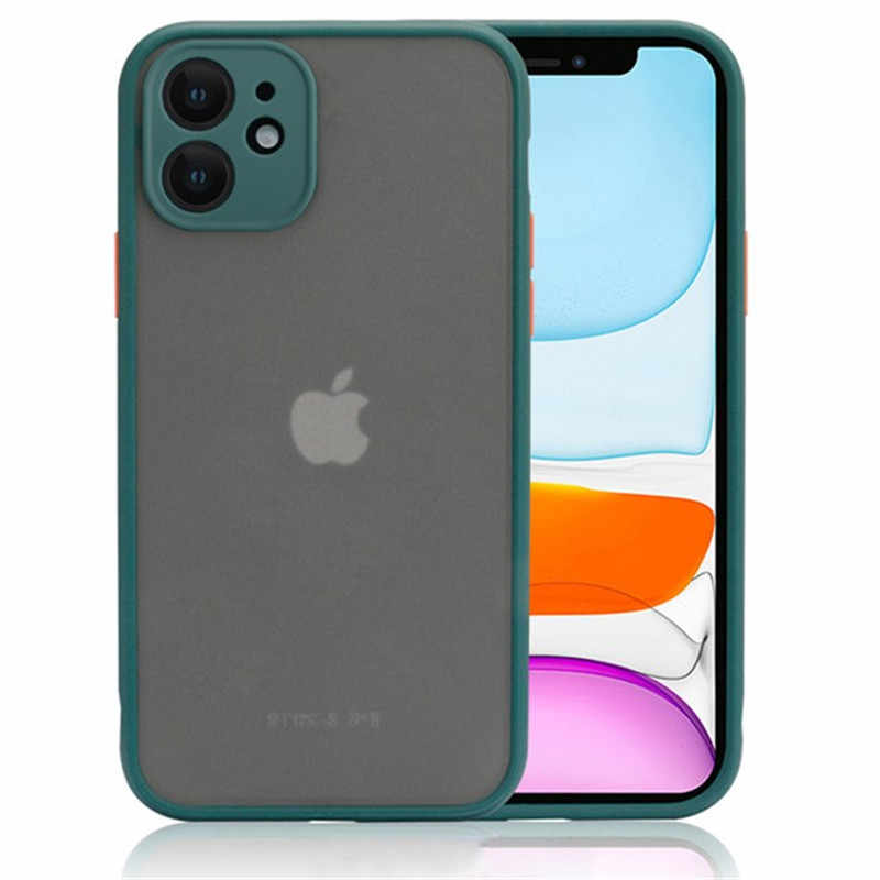 Anti-Knock Armor untuk iPhone 11 8 7 6 6S Plus Cover X XS Max XR 11 Pro Max Matte Casing Cover Pelindung