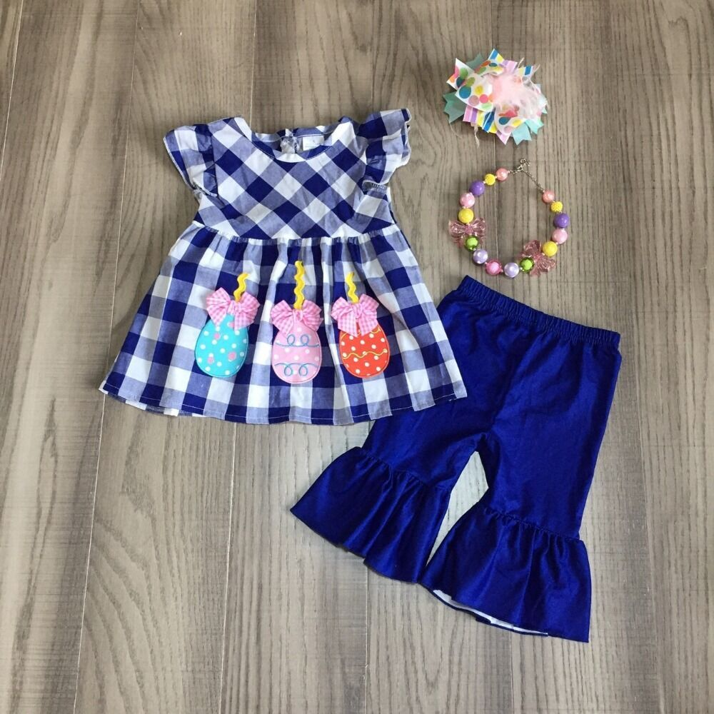 Baby Girl Girls Summer Outfits Girl Blue Plaid Top Blue Capri Bell Bottom Pant Girls Outfits With Accessories