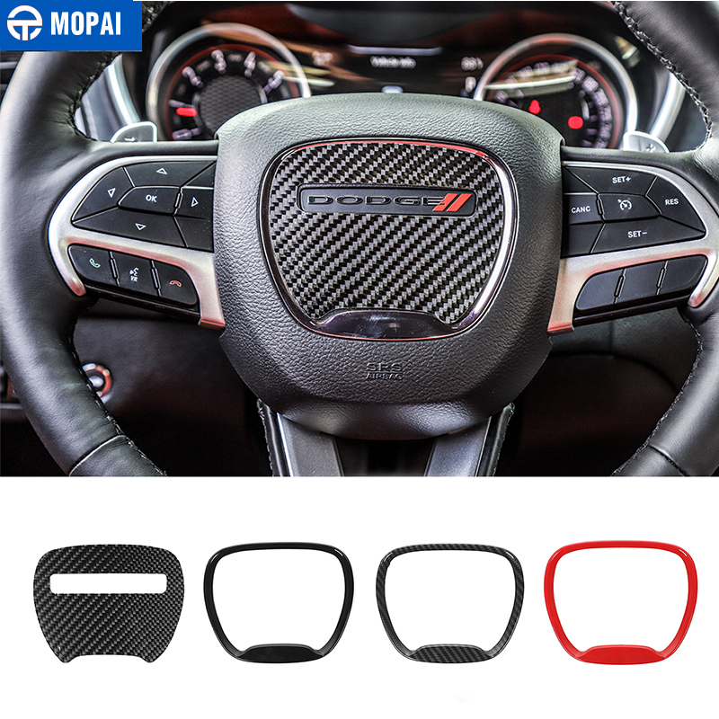 MOPAI Carbon Fiber Car Steering Wheel Decor Cover Accessories For Dodge Challenger 2015+ For Durango 2014+ For Charger 2015+
