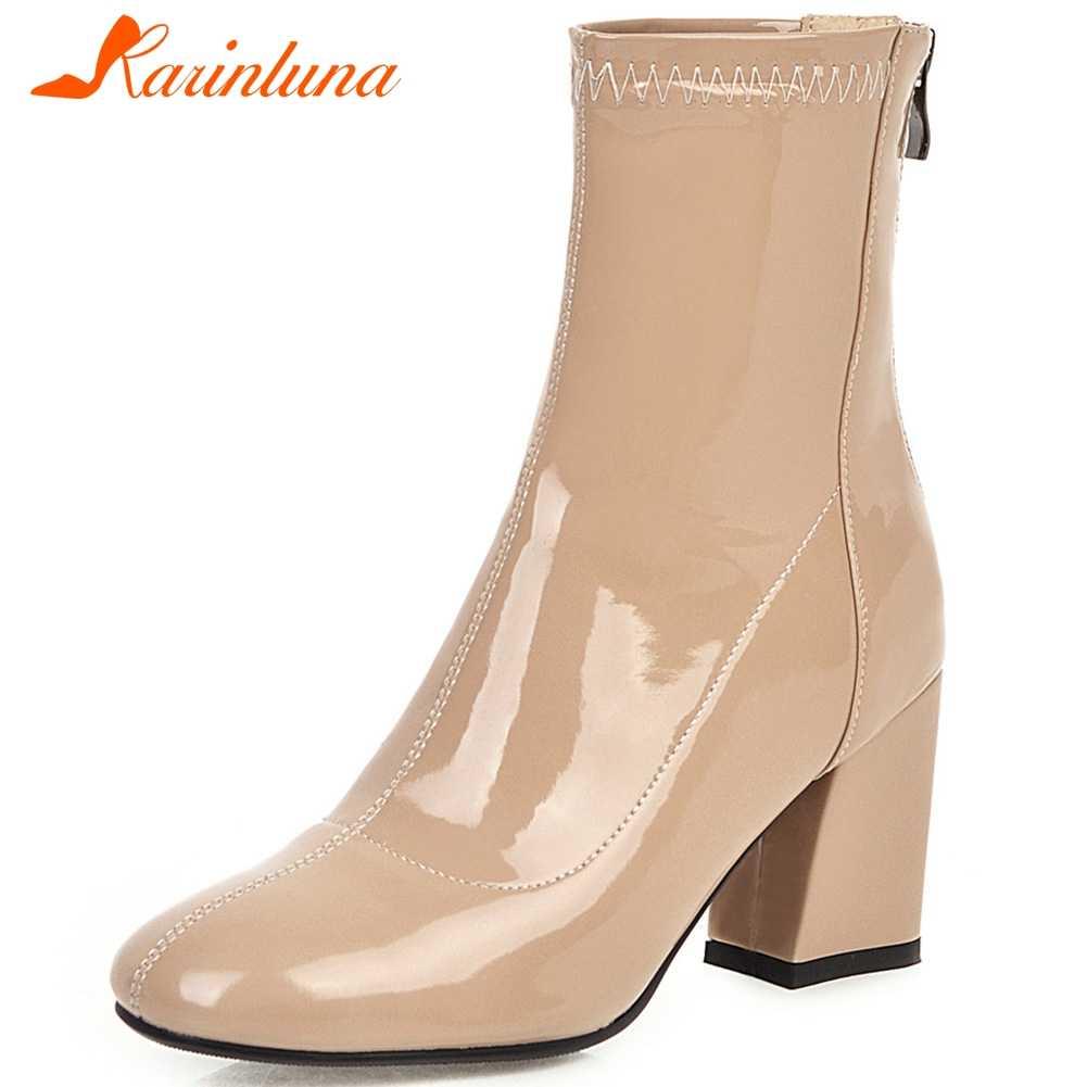 Karinluna 2020 New Arrivals Plus Size 33-46 Vierkante Teen Enkellaars Vrouwen Schoenen Vrouw Zip Up Chunky Hakken INS Laarzen Vrouw