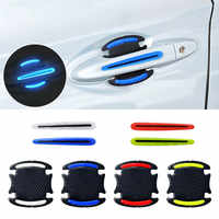 4Pcs Car Stickers Door handle reflective stickers Warning Tape Auto Reflective Strip Driving Safety Mark Warning Car Decoration