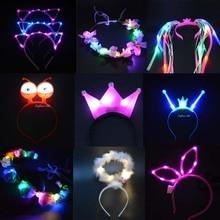 1 шт., для детей и взрослых, мигающий светильник светодиодный, тиара, корона, повязки на голову, курица, день рождения, вечерние, свадебные украшения, неоновые, вечерние