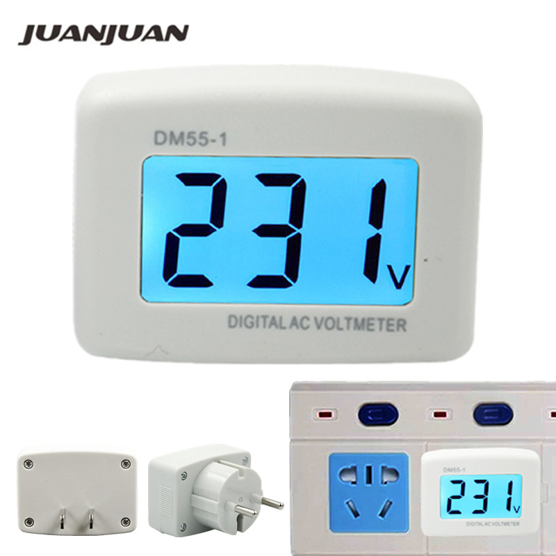 NEW DM55-1 AC 80-300V Voltage Meter Plug Volt Meter LCD Digital Display Voltmeter Testers  15%