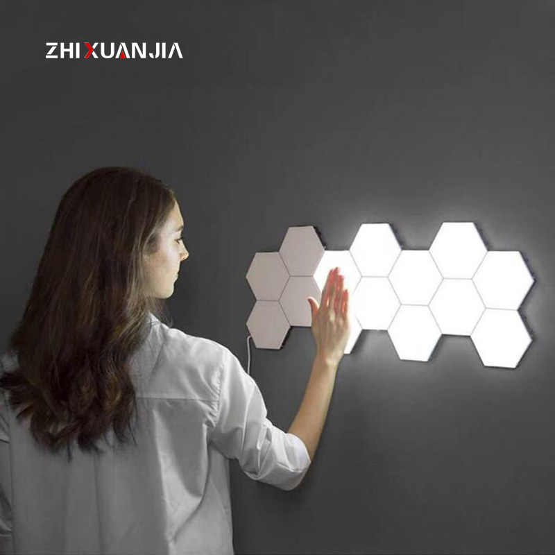 220V 110V Modern Touch Wall Lamp EU Creative Quantum Lamp Hexagonal lamp LED Magnetic decoration Wall Light Bedroom Lamp Lampara