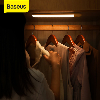 Baseus Human Body Induction Wardrobe Light USB LED Lamp Rechargable Bed Lamp LED Under Cabinet Night Light For Closet Stairs