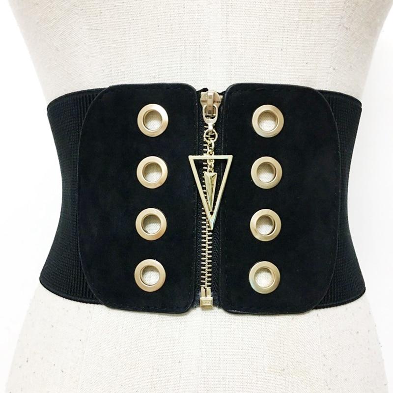 Plus Size Corset Belt Black Waist Belts For Women Wide Cummerbund Fashion Designer Elastic Big Dress Coat Ceinture Femme
