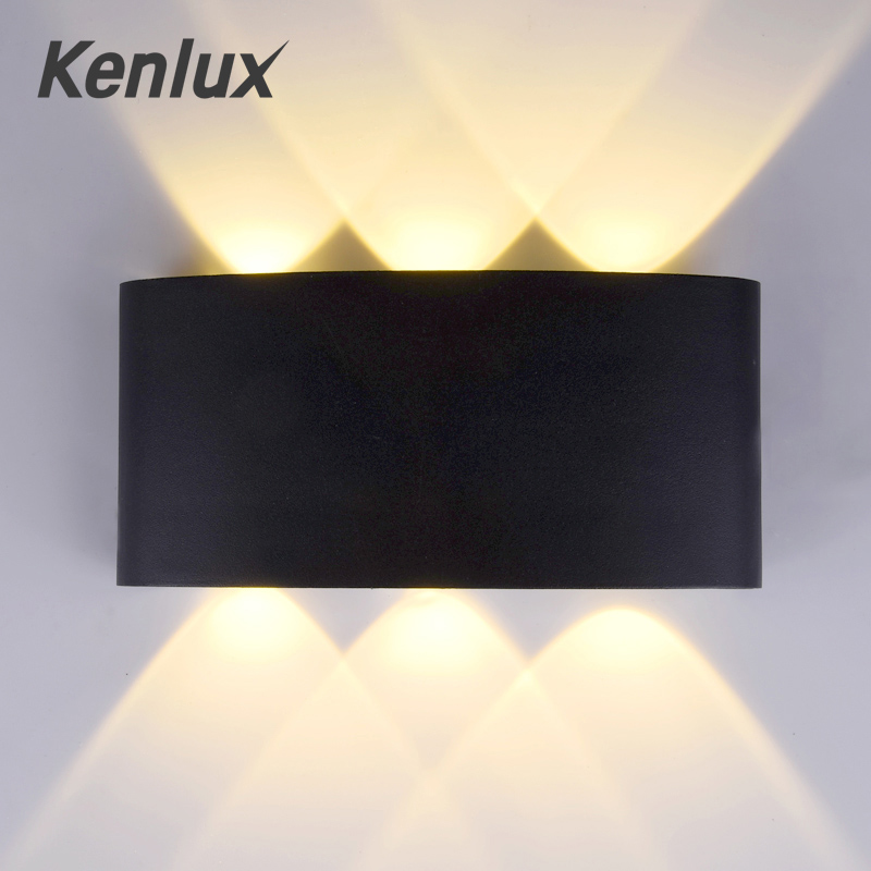 Kenlux 6W Aluminum Led Wall Light Up And Down Led Wall Outdoor Indoor Living Room Lamp WW/WH AC85-265 Outdoor Garden Wall Lamp